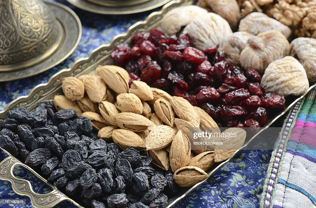 Mixed dried fruits and nuts in oriental style : Stock Photo
