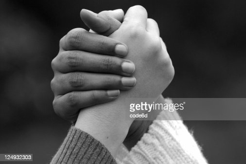 Mixed Ethnicity Women Holding Hands Teamwork Concept Black ...