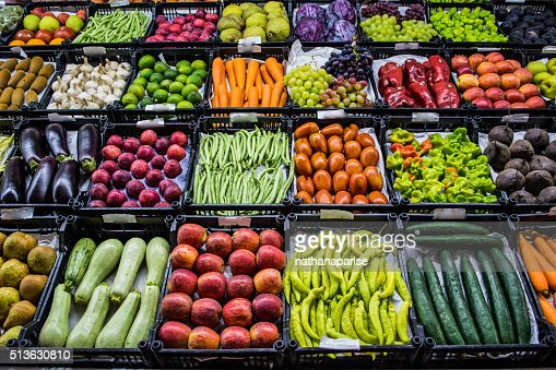 Mixed fruits and vegetables at organic fair : Stock Photo