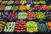 Mixed fruits and vegetables at organic fair