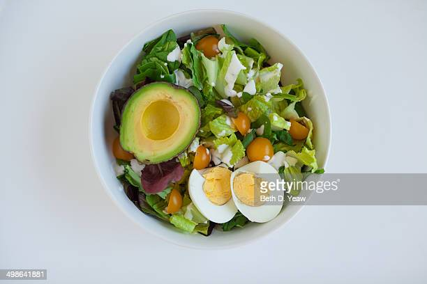 Mixed Green Salad with Avocado and Egg