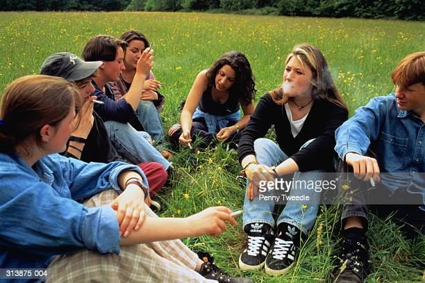 Mixed group of teenagers sitting in field, smoking
