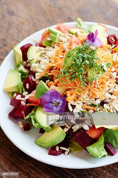 Mixed healthy salad on plate