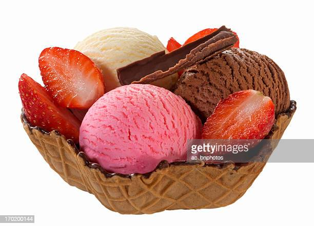 Mixed ice cream in wafer