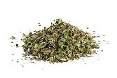 The mixed Italian herb seasoning on a white background