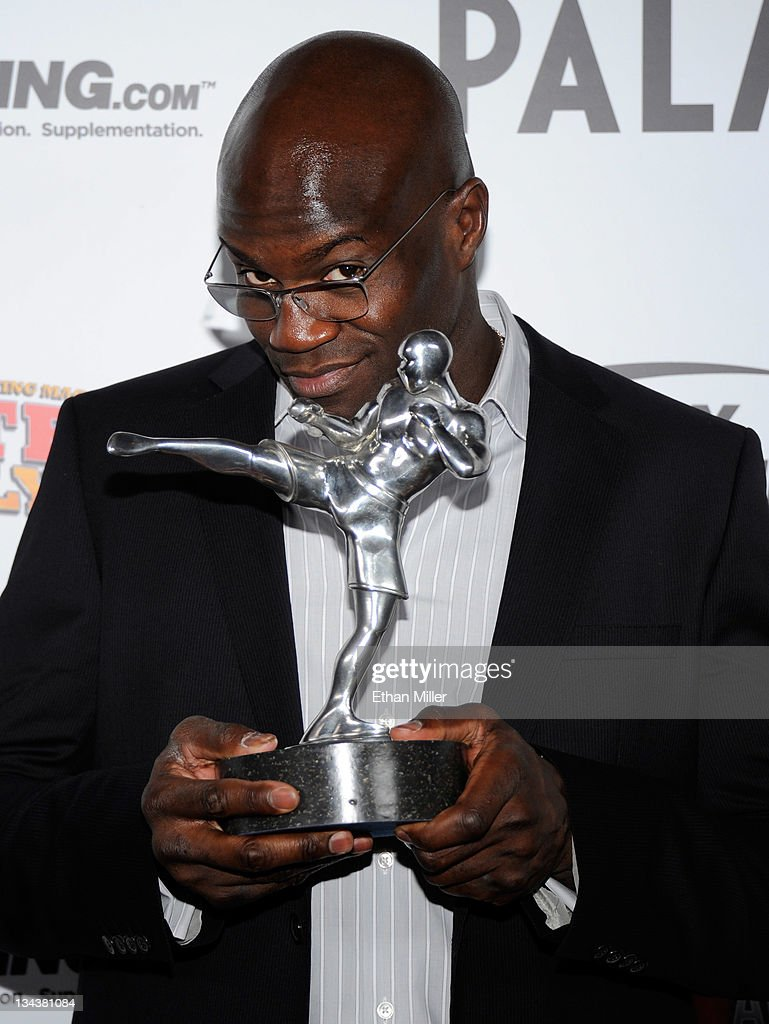 Mixed martial artist Cheick Kongo holds the Comeback of the Year award for his win against Pat Barry at the Fighters Only World Mixed Martial Arts Awards 2011 at The Pearl concert theater at the Palms Casino Resort November 30, 2011 in Las Vegas, Nevada.