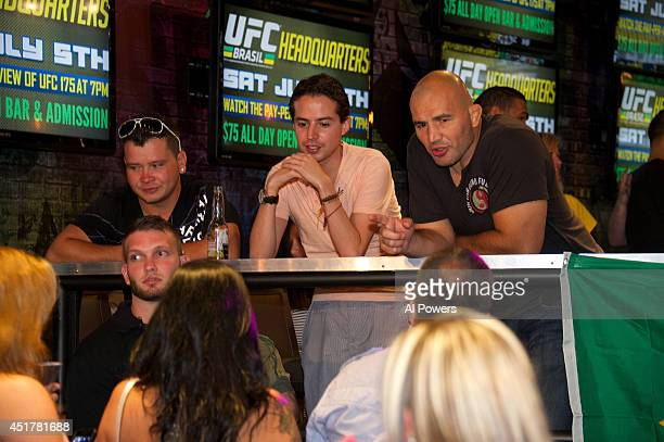Mixed martial artist Glover Texeira interacts with fans at the UFC Brazilian party during UFC International Fight Week inside the Rockhouse at The...