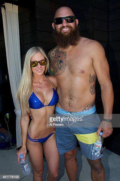 Mixed martial artist Travis Browne poses at the UFC pool party during UFC International Fight Week at the Liquid Pool Lounge at the Aria Resort...