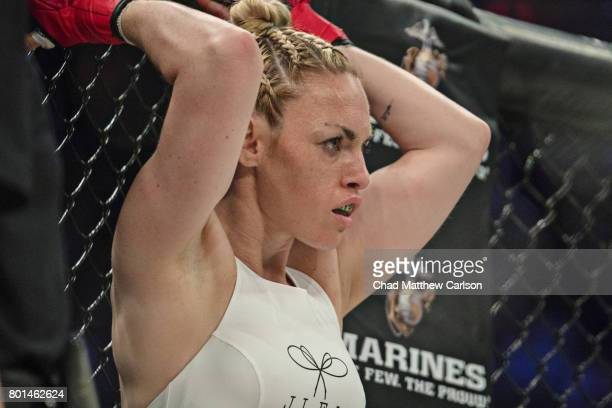 Bellator NYC Closeup view of Heather Hardy before Women's Flyweight preliminary bout vs Alice Yauger at Madison Square Garden New York NY CREDIT Chad...