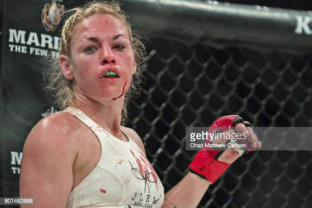 Bellator NYC Closeup view of Heather Hardy in action vs Alice Yauger during Women's Flyweight preliminary bout at Madison Square Garden New York NY...