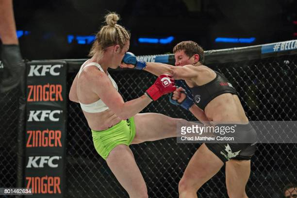Bellator NYC Heather Hardy in action vs Alice Yauger during Women's Flyweight preliminary bout at Madison Square Garden New York NY CREDIT Chad...