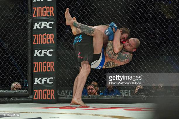 Bellator NYC Ryan Couture in action vs Haim Gozali during Welterweight preliminary bout at Madison Square Garden New York NY CREDIT Chad Matthew...