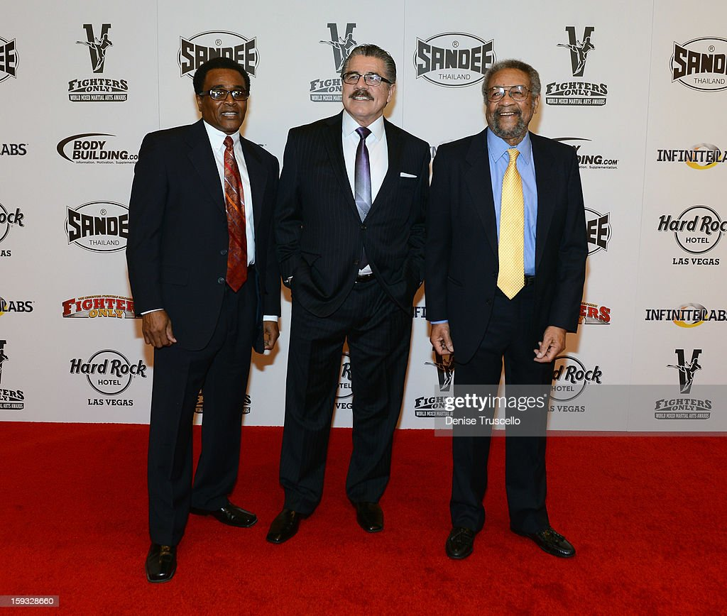 Mixed martial arts cutmen Don House, Jacob 'Stitch' Duran and Leon Tabbs arrives at the Fighters Only World Mixed Martial Arts Awards 2013 at the Hard Rock Hotel & Casino on January 11, 2013 in Las Vegas, Nevada.