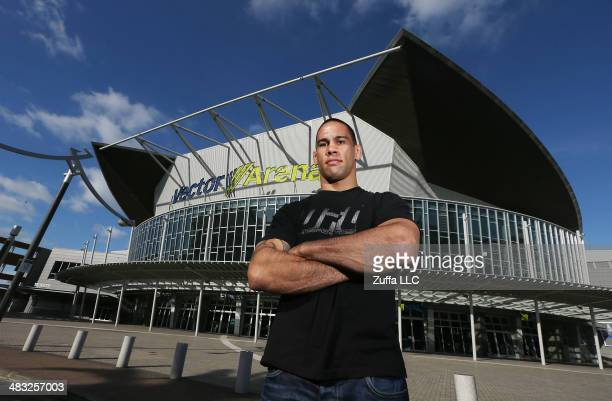 UFC mixed martial arts fighter James Te Huna poses on Auckland's waterfront at Devonport to promote New Zealand's first UFC fight at Vector Arena in...