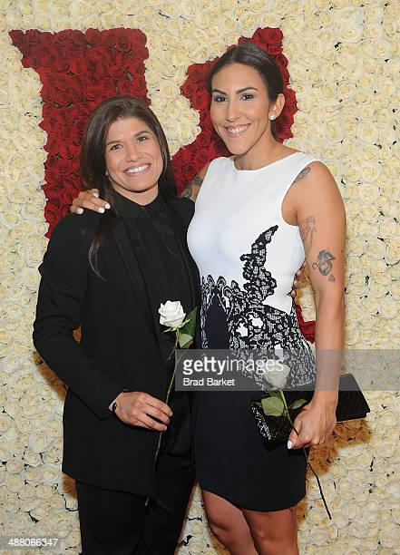 Mixed Martial Arts Fighter Jessica Aguilar and Elena Rodriguez visits the Ketel One VIP Red Carpet Suite at the 25th Annual GLAAD Media Awards on May...
