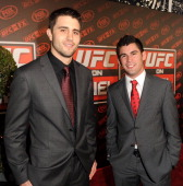 Mixed martial arts fighters Carlos Condit and Dominick Cruz attend UFC on Fox Live Heavyweight Championship at the Honda Center on November 12 2011...