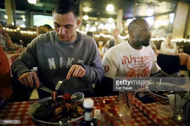 UFC 159 Gian Villante casual eating 16ounce steak before Men's Light Heavyweight fight vs Ovince Saint Preux at Arthur's Tavern steak house Villante...