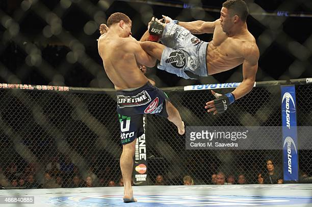 UFC 169 Kevin Lee in action jump kick vs Al Iaquinta during Lightweight bout at the Prudential Center Newark NJ CREDIT Carlos M Saavedra