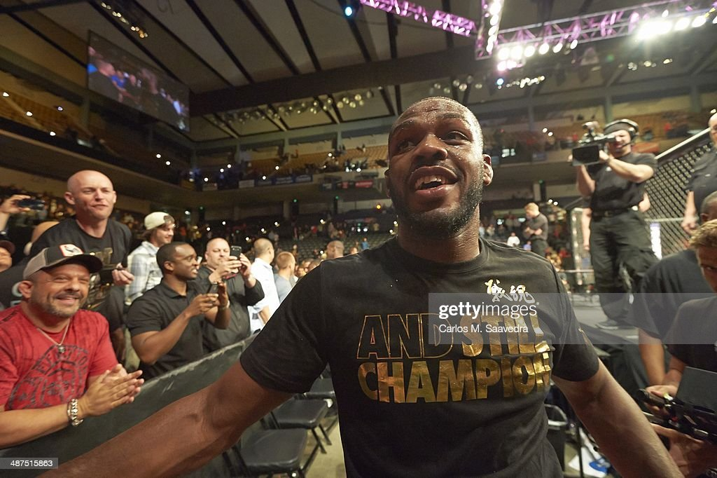 Closeup of <a gi-track='captionPersonalityLinkClicked' href=/galleries/search?phrase=Jon+Jones+-+Mixed+Martial+Artist&family=editorial&specificpeople=8928306 ng-click='$event.stopPropagation()'>Jon Jones</a> approaching the ring before Light Heavyweight Championship bout vs Glover Teixeira at Baltimore Arena. Carlos M. Saavedra TK2 )