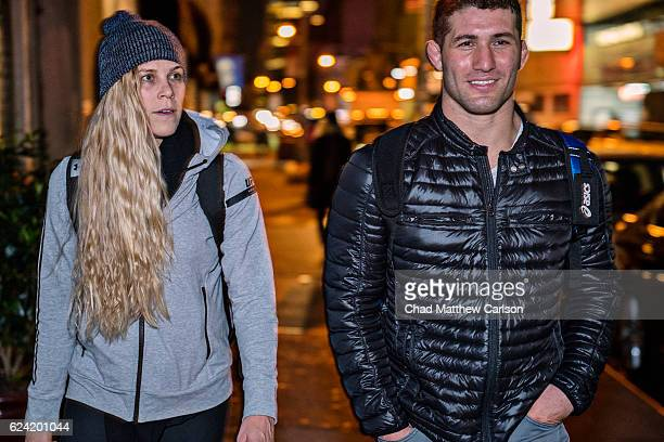 UFC 205 Preview Katlyn Chookagian walking with Kyle Cerminara outside of Madison Square Garden after weight cut New York NY CREDIT Chad Matthew...