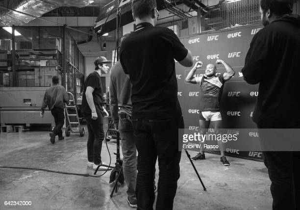 UFC 208 View of Wilson Reis posing for photograph before Flyweight fight vs Ulka Sasaki at Barclays Center Behind the Scenes Brooklyn NY CREDIT Erick...