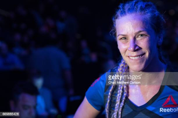 UFC 210 Closeup of Katlyn Chookagian victorious after defeating Irene Aldana by split decision at KeyBank Center Buffalo NY CREDIT Chad Matthew...