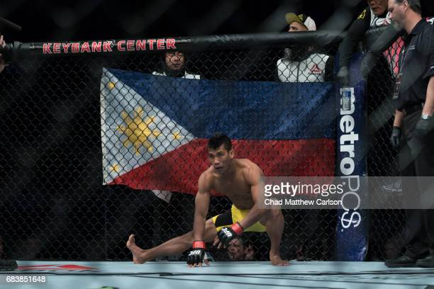 UFC 210 Jenel Lausa warming up before Flyweight class fight vs Magomed Bibulatov at KeyBank Center Bibulatov defeated Lausa View of Philippines flag...