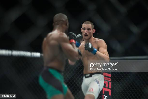 UFC 210 Sean Strickland in action vs Kamaru Usman during Welterweight class fight at KeyBank Center Usman wins by unanimous decision Buffalo NY...