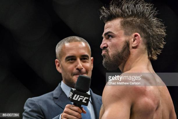 UFC Fight Night 116 Mike Perry victorious being interveiwed after defeating Alex Reyes during welterweight bout at PPG Paints Arena Pittsburgh PA...