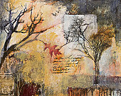 Mixed media collage painting with winter trees and oak leaf
