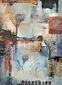 Mixed media layered painting with trees