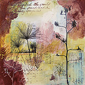 Layered abstract acrylic painting with handwritten text and collaged photos of seedheads on canvas. ALL elements in the painting are the photographer's own work.