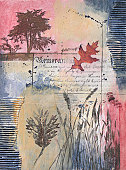 Mixed media painting with tree, leaf, and grasses