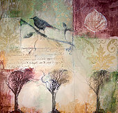 Mixed media painting with winter trees and bird
