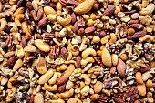 Background of almonds, cashews, walnuts, brazil nuts and hazelnuts.