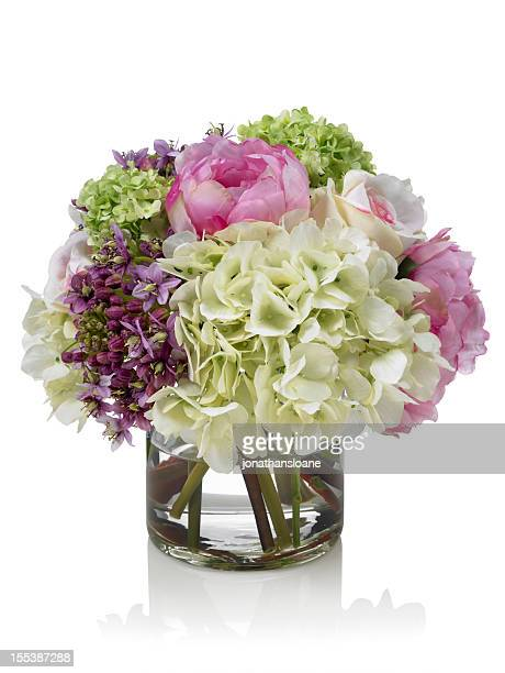 Mixed pink and white Spring garden bouquet on white background