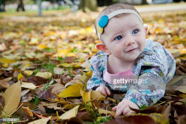 Mixed race baby girl crawling in autumn leaves
