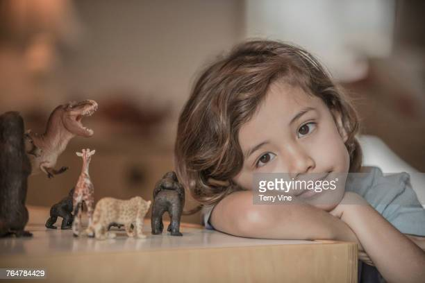 Mixed race boy cleaning on the table with toy animals