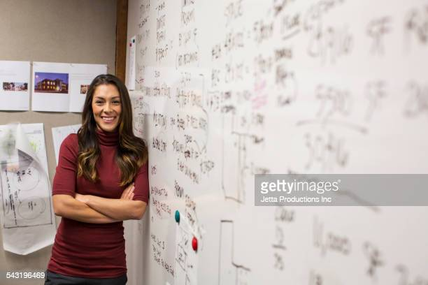 Mixed race businesswoman smiling near whiteboard
