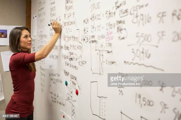 Mixed race businesswoman writing on whiteboard