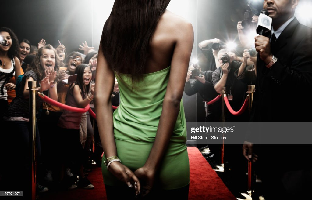Mixed race celebrity at red carpet event