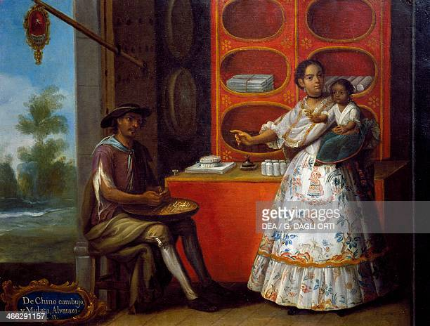 Mixed race chinese man mixed race woman and mixed race child painting on the theme of miscegenation Mexico 18th century