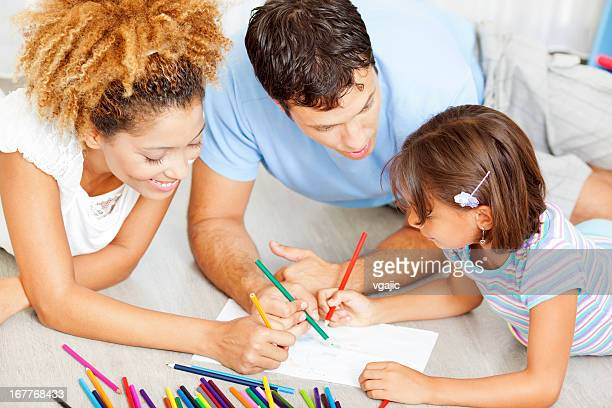 Mixed Race Family Coloring and Drawing.
