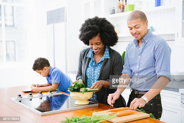 Mixed Race Family in the kitchen