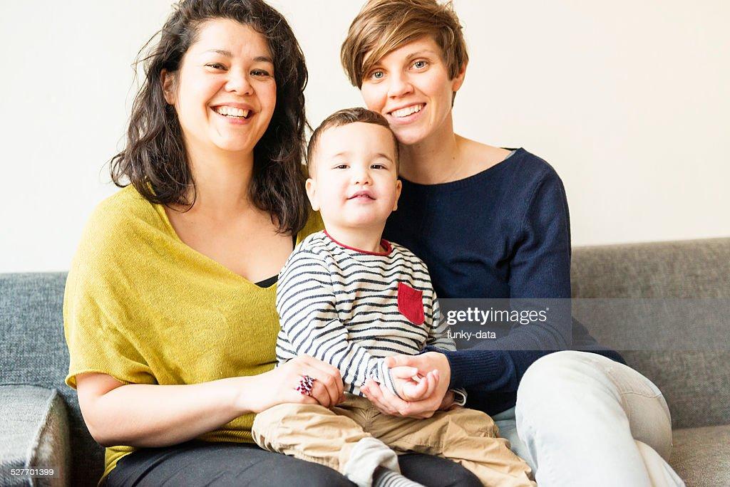 Mixed race lesbian family portrait : Stock Photo
