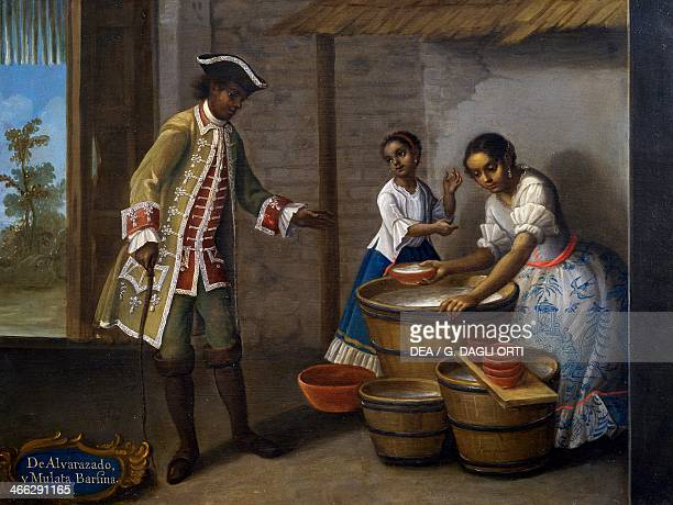 Mixed race man mixed race woman and mixed race child painting on the theme of miscegenation Mexico 18th century