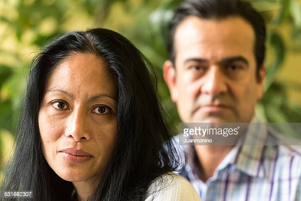 Mixed race mature couple