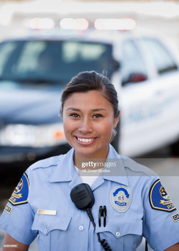 Mixed race policewoman