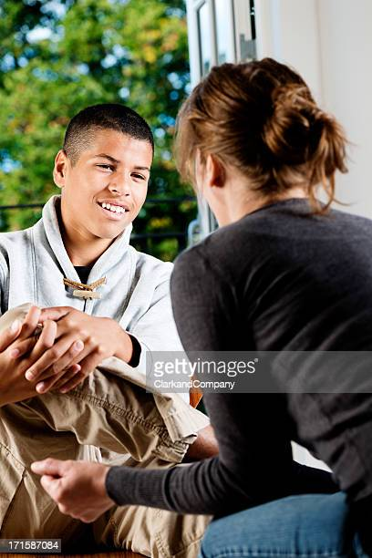 Mixed Race Teenager  Talking To Counsellor or Teacher