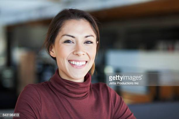 Mixed race woman smiling